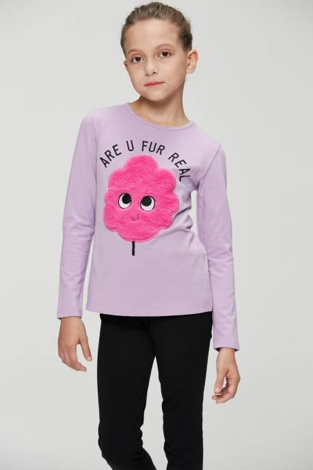 Girls' Knitted Long Sleeve T-shirt